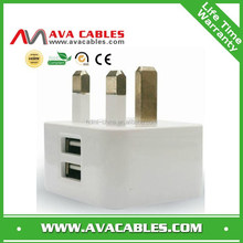 2.1A UK charger with dual usb port three pin uk wall charger