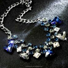 Latest design fashion gold beads choker crystal statement necklace
