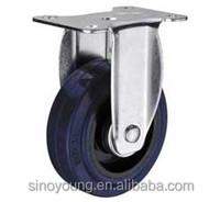 Medium duty elastic rubber fixed caster