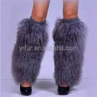 YR130 Designer Style Mongolian Lamb Fur Leg Warmers