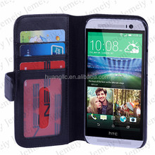 Wholesale Premium Stitching PU Leather Wallet Stand Cover Flip Bag Case With Card Slot Pocket For HTC One M8