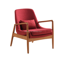 Dixon mid-century modern brown ash finished red fabric upholstered lounge chair