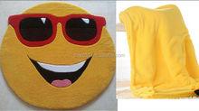 Yellow emoji Stuffed Animal Blanket/animal eomoji hood blanket/OEM comfort baby toys stuffed emoji blanket