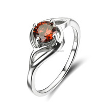 Fashion Women Gift Sterling Silver Red Cubic Zirconia Wedding Ring