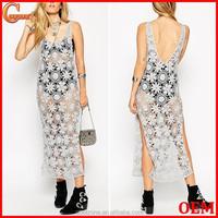 Fashion scoop neck ladies crochet maxi dress names/side splits long maxi dresses