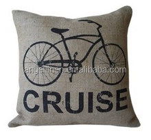 linen cushion cover with printing in natural color for relax