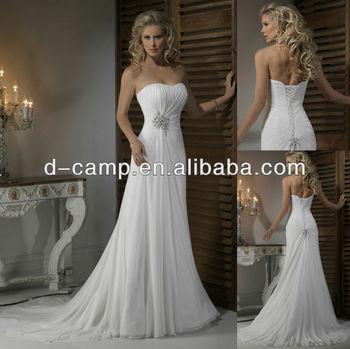 wd809 elegant corset lace up back white cheap chiffon