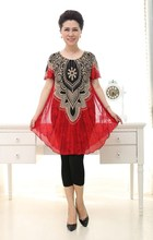 Womens Fashion T-shirts Knit print short sleeve dresses Ladies skirts blouses R12
