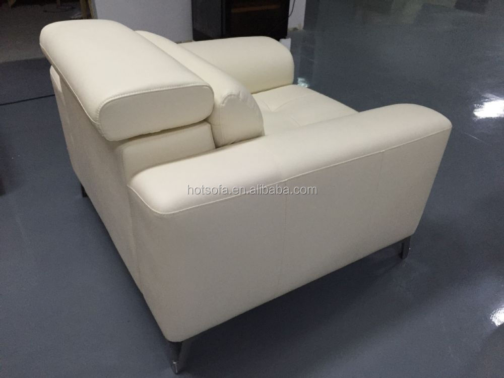 Hotel Single Chair 1 Seat Leather Sofa White Living Room