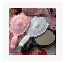Vintage Rose Cosmetic Mirror Plastic Makeup Mirror Cute Girl Hand Make Up