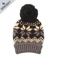 Cheap Winter Jacquard Hand Knit Hat/Custom Knitting Hat/Knitted Hat
