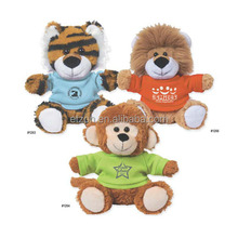 High Quality Soft Toy Terrific Tiger With Shirt ,Marvelous Monkey With Shirt,Lovable Lion With Shirt