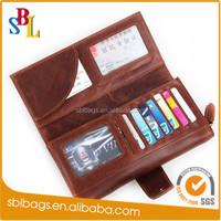 Geniune Leather Brown Man leather wallet With Zipper