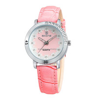 2015 SKONE Brand Women Latest Arrival Leather Wrist Watch Flower Decoration Women personality Water Proof Dress Watch