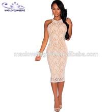 Mujeres libres del envío ropa 2015 para mujer del verano atan Midi vestido