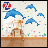 2015 new arrived wholesale removable adhesive dolphin design cute safe Kids decorative wall stickers