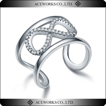 2015 Top Fasion zircon ring 925 sterling silver infinity ring unique 925 silver couple ring