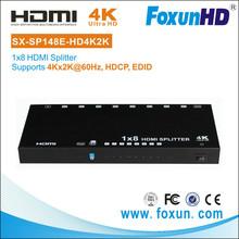 SHUNXUN 2015 new OEM SX-SP148E-HD4Kx2K 8 Port Audio Video HDMI 2.0 HDMI Splitter Support 3D, EDID ,Ultra HD 4k