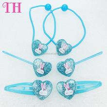 factory wholesale heart shape glitter rabbit print hair pin elastic plain plastic hair band pictures