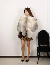 kadın zarif gerçek tilki kürk beyaz ceket kısa yün ceket