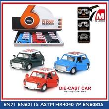 Mini diecast modello in scala auto in vendita 1:38 scala tirare indietro funzione a porta aperta antico giocattolo in metallo auto