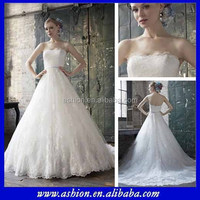 WE-1717 Strapless delicated full a-line wedding dresses for mature women's wedding dresses