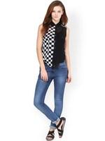 black and white sleeveless sexy women see through blouses