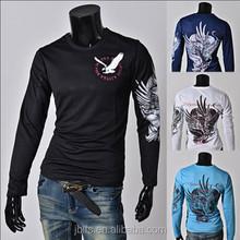 Mens Eagle Graphic Print Long Sleeve O-Neck T-Shirt
