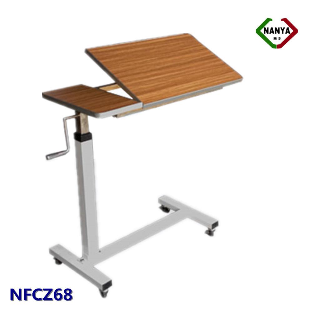 Nfcz68 hospital tilt top wooden overbed laptop table