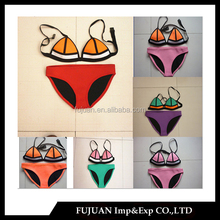 Hotsale popular push up triangle without mesh 100% neoprene bikini