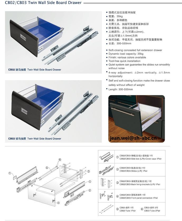 Sh Abc Double Wall Drawer Slide View Side Board Drawer