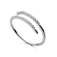 Hot Sale Top Quality silver zircon ring diamond ring with simple design for women wedding ring set