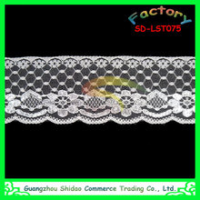 Wholesale New Fashion White Natural Floral Scalloped Narrow Raschel Lace Trims