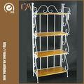 Estantería antigua blanca plegable de 60 pulgadas de hierro y madera maciza con 4 estantes