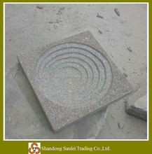 new design red granite carved stone garden birdbath