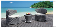 2015 New arrival Stainless steal swivel base rattan round outdoor furniture brushed