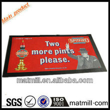 Fashion bibulous printing bar rubber backing mat/red picture printed bar mats/bar counter mat
