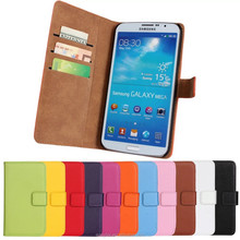 Luxury holster wallet Genuine leather case Flip leather case for Samsung Galaxy Mega 6.3 i9200 Flip Mobile phone cases