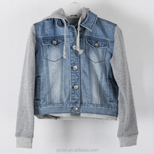 Woman denim bomber jacket for women custom jacket with fleece sleeve jacket fashion jacke style