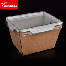 PE waxed disposable salad box with window