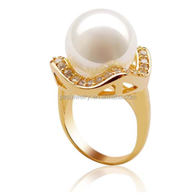 Latest design rings most popular fashion pearl rings wholesale silver pearl rings 18K Gold Overlay