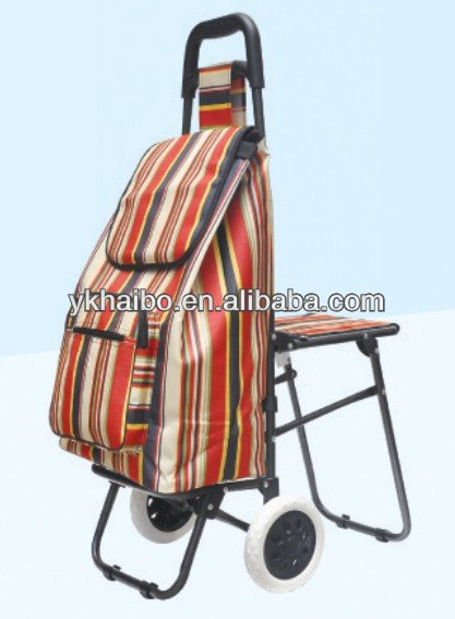 Folding fishing shopping trolley with seat buy lady for Folding fishing cart