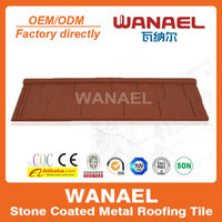 Shingle Wanael decorative metal roof tile/anti-uv stone chips coated roof sheet/roofing for parking