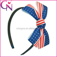 Wholesale 4th of July America Flag Grosgrain Ribbon Patriotic bow Hair Band