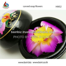 Thai Hand Carved Soap Flower in Wooden Container