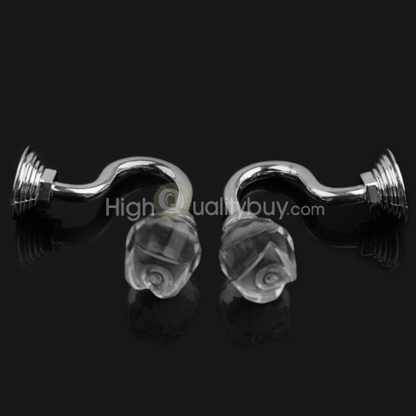 2Pcs Bathroom Crystal Glass Wall Tie Clothes Towl Tieback Hooks Curtain Hanger