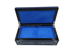 Customize wooden pen box with veneer under painting, and blue painting outside
