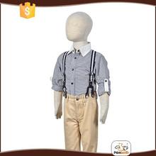 Original design white collar long sleeves cotton kid boys pant shirt