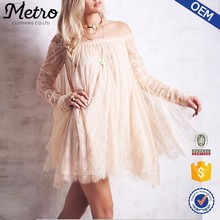 OEM Manufacturer Customized plus size off shoulder cream lace party dress