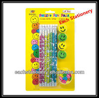 7Inches Shrink Film Revolving Craft Wooden HB Funky Pencil Set With Eraser Top And Smiling Face Eraser
